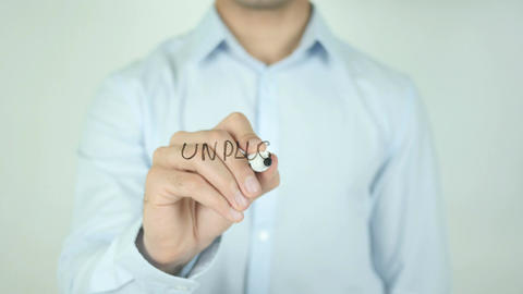 Unplugged, Writing On Transparent Screen Stock Video Footage