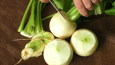 Tasty fresh crude white round japanese radish. Healthy food Footage
