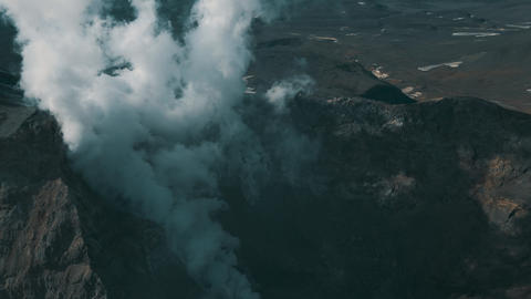 Birds View Smoking Active Crater of Volcano Epic Panorama Landscape Terrain 4k Live Action