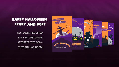 Happy Halloween Story and Post After Effects Template
