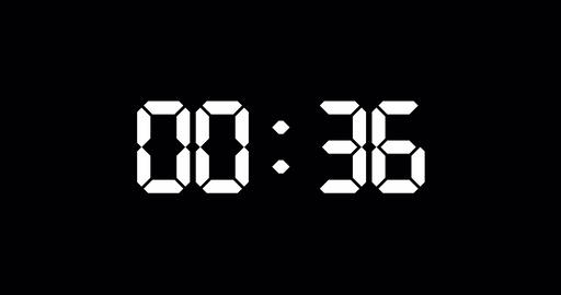 Simple one minute countdown timer with electronic white digits Animation