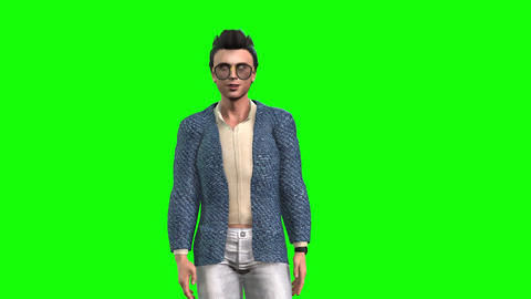 968 HD COMMUNICATION 3D animated young modern man taks walks point TWO footages Animation
