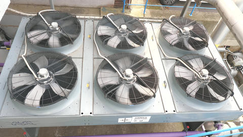 Metal industrial air cooling system vent. Industrial blower fan cooling biogas powerplant system Live Action