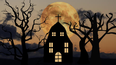 halloweeen scary scene background with night sky and moon Animation