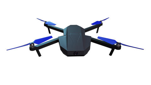 Drone quadrocopter with camera for aerial photography isolated, computer Animation