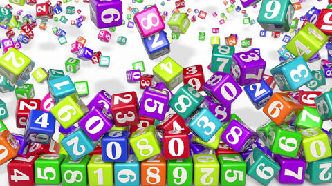 Numerology (secret knowledge about the numbers). Multi-colored cubes with numbers are falling Animation