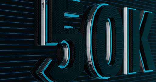 50K, 50000. 3D Promotion Intro. Text Logo Animation