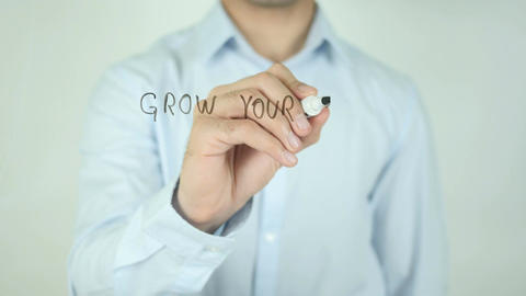 Grow Your Small Business, Writing On Transparent Screen Footage