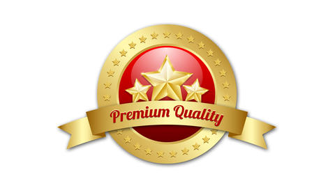 Three golden stars symbol with Premium quality ribbon and plaque on background w Animation