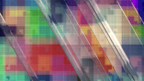 Random glass pane movement over abstract background in colorful spectral colors. Animation