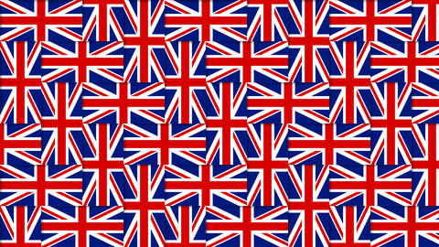 British pattern composed from national flags of the United Kingdom on background Animation