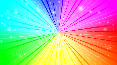 Rotating rays with burst effect and particles on colorful radial gradient backgr CG動画素材