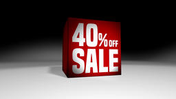 4K 60 fps loop. Black friday and cyber monday sale red cube 40 percent discount Animation