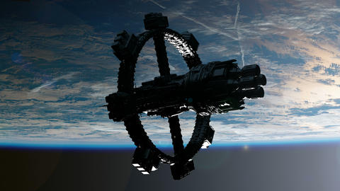 Space Station Orbiting Earth. Elements of this image furnished by NASA Footage