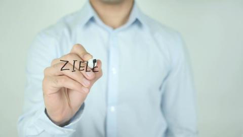Achieve Goal In German Language, Ziele Erreichen, Writing On Transparent Screen Footage