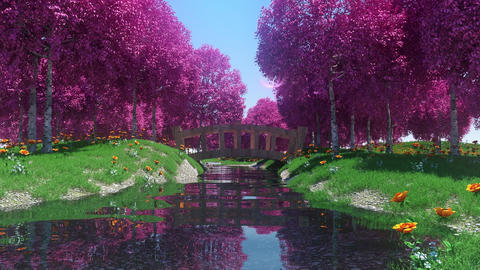 River Landscape with Trees and Flowers Loop Motion Background Animation