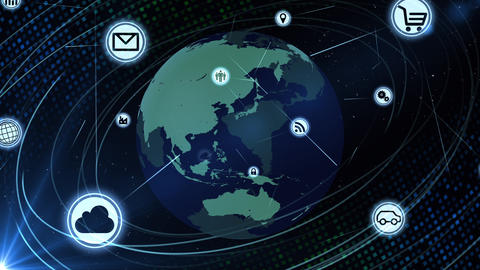 Technology Icon Network World Internet Digital devices on space Earth background 6Ma 動畫
