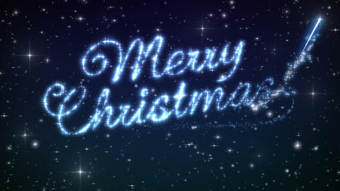 Merry Christmas Beautiful Text Appearance Animation in the Night Winter Sky. Tex Animation