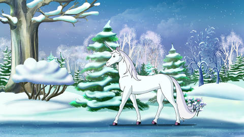 Magic Unicorn in a Winter Forest UHD Animation