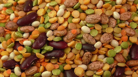 Various colorful dried legumes. Healthy food Live Action