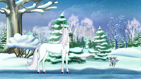 Magic Unicorn in a Winter Forest Animation