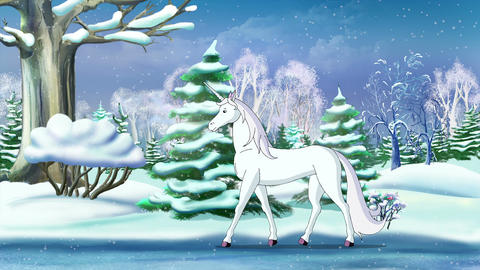 Magic Unicorn in a Winter Forest, Stock Animation