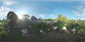 360 VR Family relaxing in the yard of country house. Ruza, Moscow region Footage