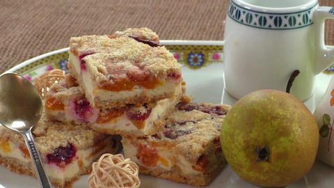 Homemade seasonal fruity pie with crumble Footage