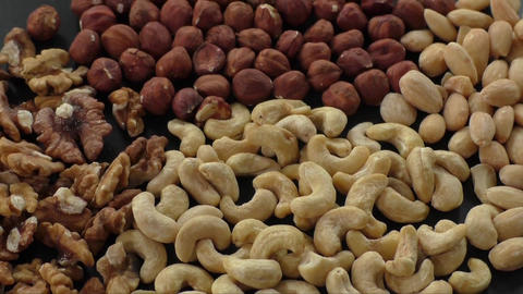 Almonds, cashew, walnuts and hazelnuts. Healthy food Live Action