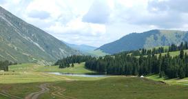 Lake in the mountains. Chon-Ak-Suu. Grigoriev Gorge. Issyk Kul. Kyrgyzstan Footage