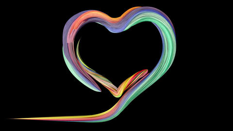 Colorful brush paints a heart shape Animation