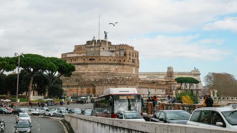 Rome,road traffic timelapse,Santangelo castle,people tourists walking,transport Live Action