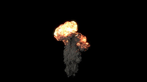 The explosion of a bomb with black smoke. An explosion with thick smoke on an isolated black 動畫