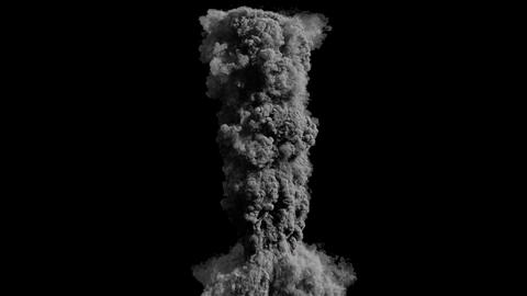 Close-up of the explosion and thick black smoke. Explosion and fire with smoke on an isolated black 動畫