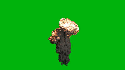 The explosion of a bomb with black smoke. An explosion with thick smoke, fire and an explosion of 動畫