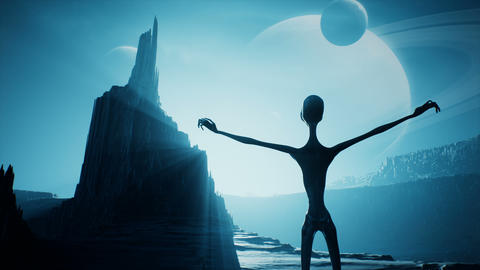 An alien is waiting for the dawn on his unusual planet. Landscape of a beautiful alien planet in far Animation
