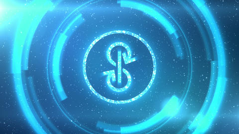 Blue Yearn Finance YFI symbol on background with HUD elements. Seamless loop Animation