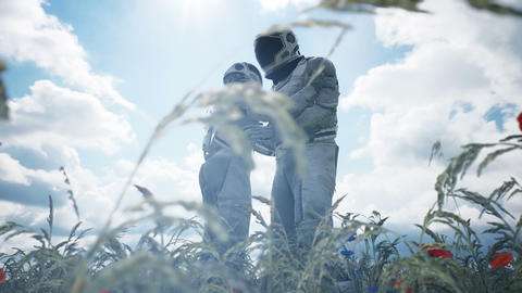 Meeting of two astronauts in love on an alien blooming planet. Animation for fantasy, science 動畫