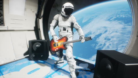 An astronaut on his spaceship plays space music on an electric guitar. Looping animation for Animation
