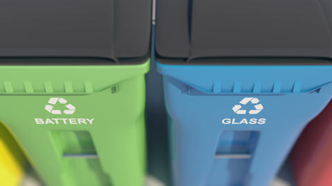 Plastic bins, garbage cans, recycling 動畫