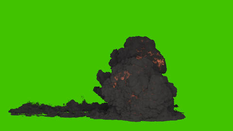 A strong explosion of fuel or explosives with a large amount of black billowing smoke. An explosion Animation