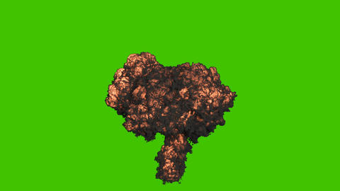 A nuclear explosion with black, thick smoke. An explosion with thick smoke, a bomb explosion, real 動畫
