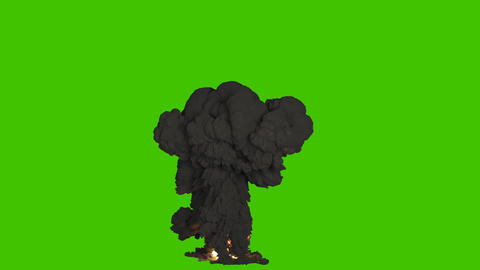 A big nuclear explosion with a lot of black smoke. Explosion with black smoke, explosion of 動畫