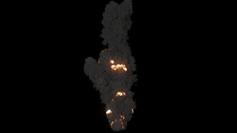 Combustion of fuel with thick black smoke. Fire with black smoke on an isolated background with an Animation