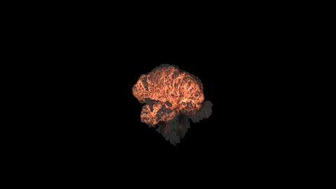 A powerful explosion with a lot of swirling smoke. An explosion with black smoke on an isolated 動畫