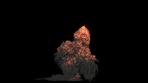 A strong explosion with a lot of swirling smoke. An explosion with black smoke on an isolated 動畫