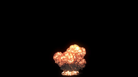 A strong nuclear explosion with a lot of swirling black smoke. An explosion with black smoke on an 動畫