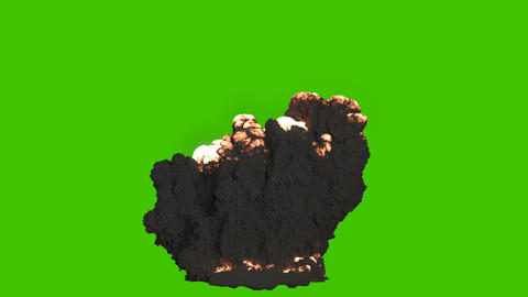A giant explosion of combustible fuel with thick black smoke. Explosion with black smoke, explosion Animation