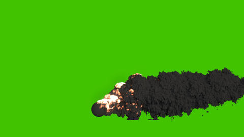 Burning fuel with thick black smoke. A fire with black smoke. VFX animation in front of green screen Animation