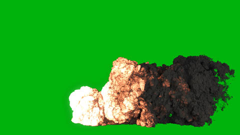 Strong explosion of explosives or fuel with black smoke. Explosion with black smoke, explosion of Animation
